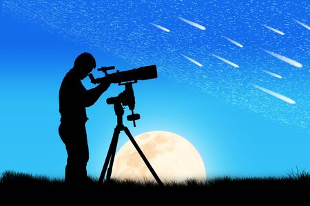man on the moon: silhouette of young man looking through a telescope at the full moon background