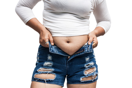 Women body fat belly and scratch mark Stock Photo