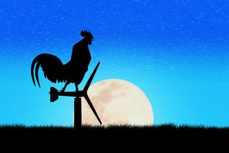 cuervo: Los gallos cantan de pie en una turbina de viento. En el fondo de la salida del sol de la mañana