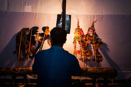 puppet show: Traditional south of Thailand Shadow Puppet Show,Nakhonsitammarat Stock Photo