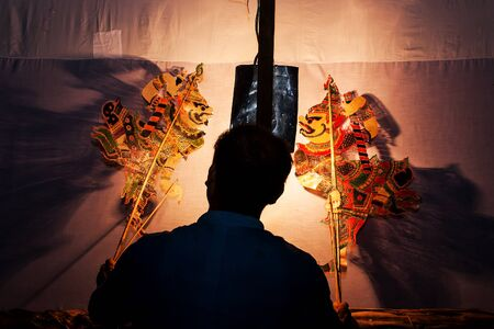 puppet theatre: Traditional south of Thailand Shadow Puppet Show,Nakhonsitammarat Stock Photo