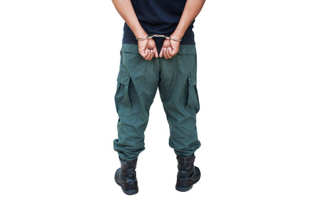 handcuffed: the man was bound by hand in the handcuffed out of freedom