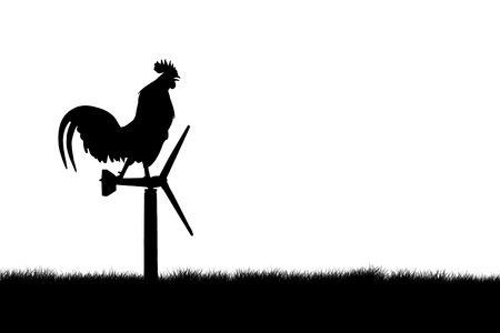 crow: Roosters crow stand on a wind turbine. isolate  background Stock Photo