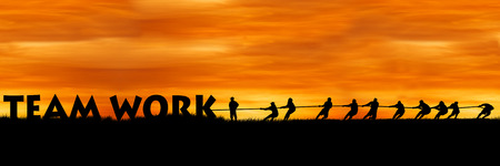 team power: concept success,people show power pull rope wording team work sunset background