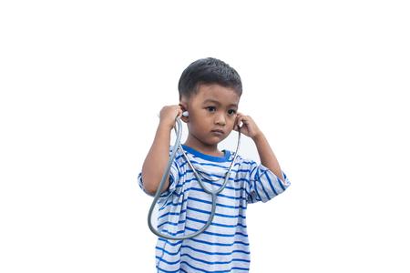 stethoscope boy: asian little boy and stethoscope isolate background