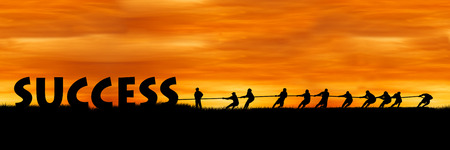 happiness or success: concept success and team work, The fight between success and people sunset background