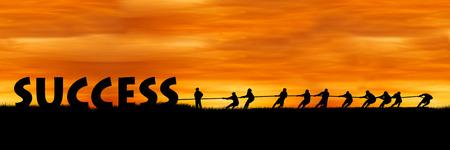 gente exitosa: el concepto de éxito y trabajo en equipo, La lucha entre el atardecer de fondo éxito y la gente
