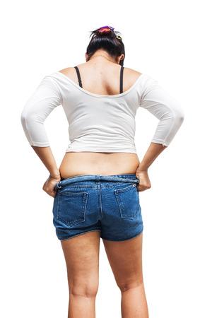 Fat girl tried to wear Trousers.