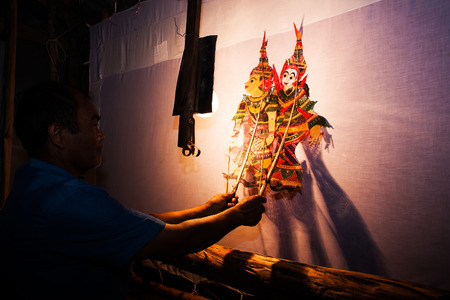 marioneta: Al sur tradicional de Tailandia Sombra del espectáculo de marionetas