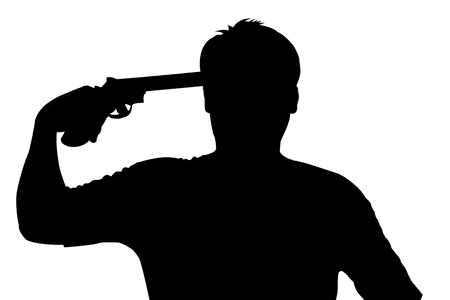 silhouette of Young man commits suicide with his gun Stock Photo