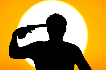 commits: silhouette of Young man commits suicide with his gun Stock Photo
