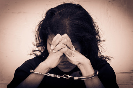 bondage woman: Slave,Human Trafficking concept