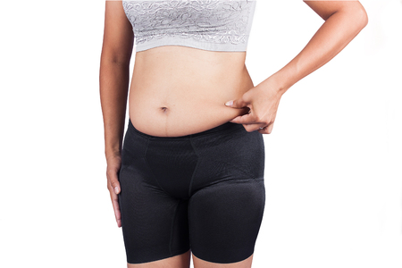 women body: Women body fat belly front view Stock Photo