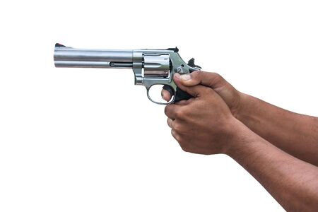 man standing and hand holding gun revolver ,side view Stok Fotoğraf