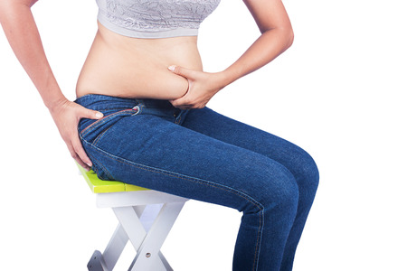 Women body fat belly Stock Photo