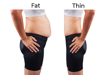 gordos: grasa corporal las mujeres y delgada despu�s del ejercicio y la dieta