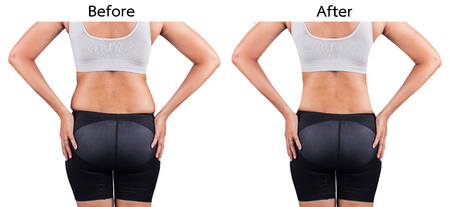 pals: fat women from rear,before and after weight loss Stock Photo