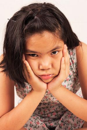 morose: portrait cute girl sad and morose