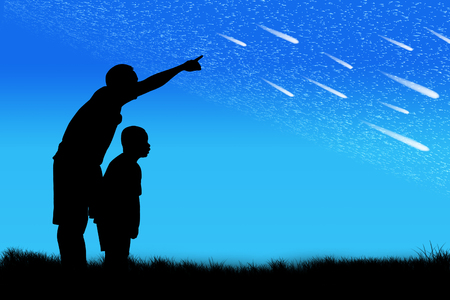 tree silhouettes: Silhouette of father point his son look at star on the sky Stock Photo
