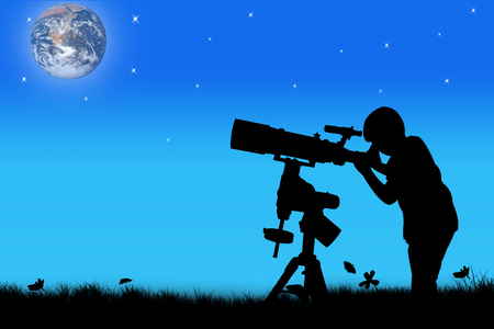 silhouette of little boy looking through a telescope at sunset  background