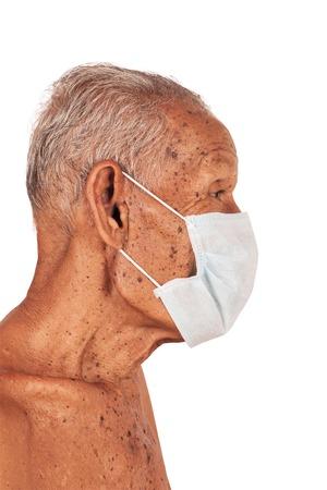80 year old: elderty man wearing mask Stock Photo