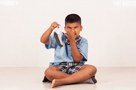 smelly: school boy closed Nose, smelly socks