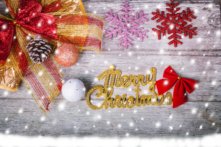 blue vintage background: Merry Christmas on wooden background