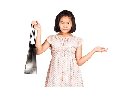 gril: cute gril hold bag shopping isolate background Stock Photo