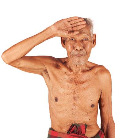 hand on forehead: old man sick ,headache  hand to forehead