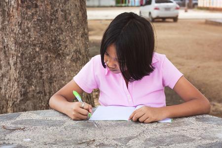niños escribiendo: linda chica escribiendo libro en el jardín Foto de archivo