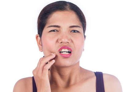 dolor de muela: mujeres jóvenes toothache Foto de archivo