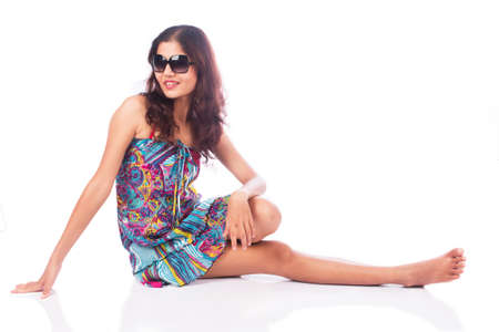 adult young: sexy girl in dress with sunglass