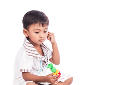 little cute boy unhappy Stock Photo