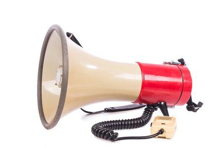 mega phone: megaphone on white background Stock Photo