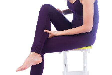 calf pain: young women calf pain on white background