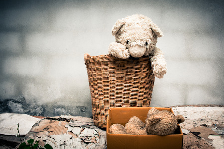 Couple teddy bear abandoned piles of paper,black and white tone