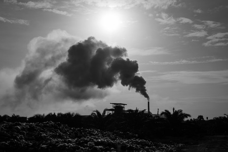 Air pollution and Piles of garbage,black and white tone