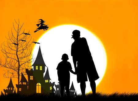 rising dead: Concept Halloween,Father and son looking  at sorceress Stock Photo