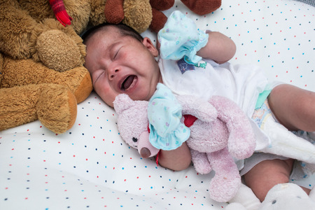 naptime: Cute little newborn unsleep and crying