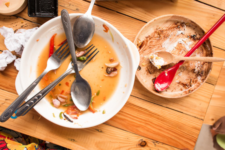 Waste food on dish after eating