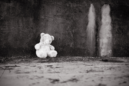 Cute teddy bear abandoned black and white tone Stock Photo