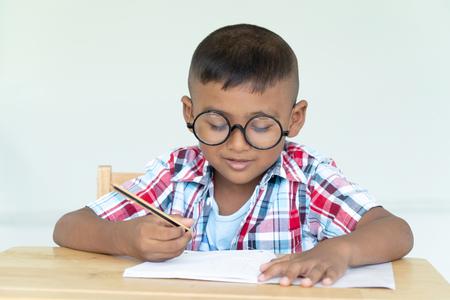 Cute asian little boy writing a book