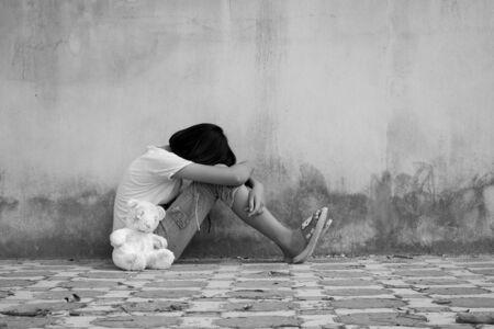 asian girl sad alone ,black and white tone