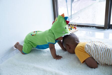 Cute two brother play in room