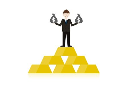 Successful businessmen stand on the gold pile