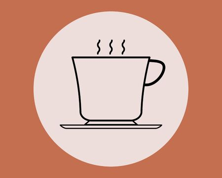 cup of coffee tea and smoke with steam line icon Иллюстрация