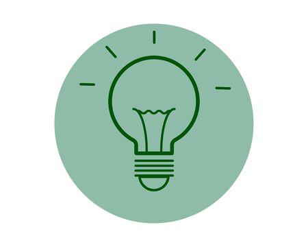 Light bulb with rays shine. Energy and idea symbol Illustration