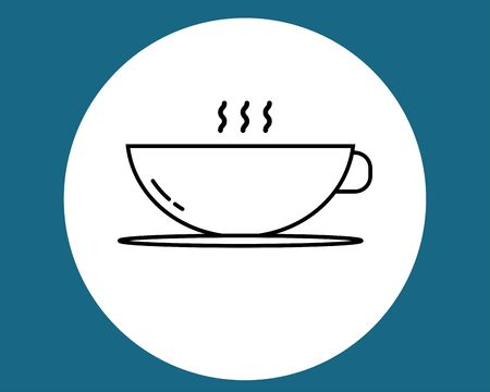 cup of coffee tea and smoke with steam line icon