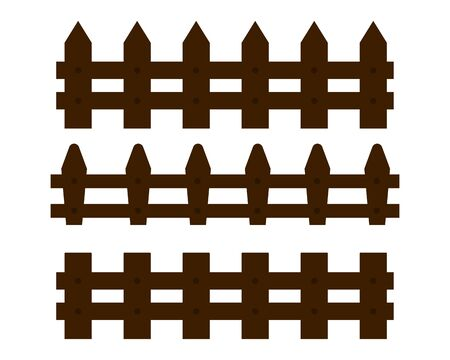 Wooden brown fence ,Hedge Vector illustration