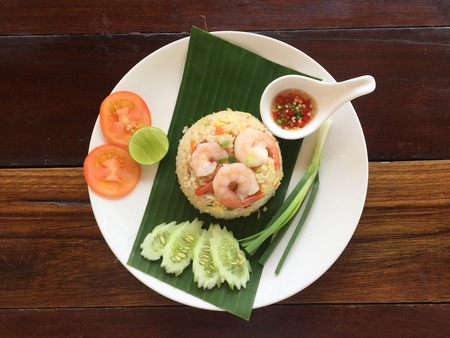 Fried rice with shrimp, popular Thai food of foreigners.
